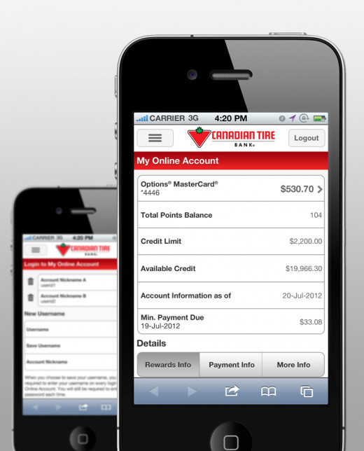 Credit Card Mobile Website example image 1